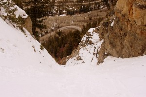 Looking down the couloir and Highway 24