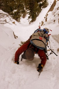 Steep snow climbing ensued as the couloir constricted towards the top
