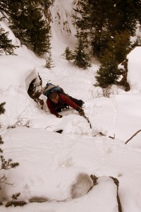 J finishing off the Minturn Couloir with more steep snow climbing