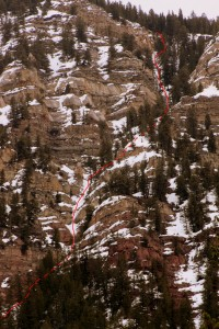 The 2nd &amp; 3rd cruxes as well as the upper narrow portion of the couloir can be seen here