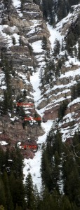 The Minturn Couloir with the three cruxes identified