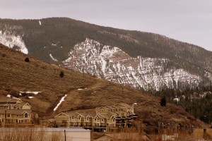 The widest part of the couloir can be seen here from Minturn