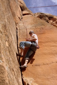 Eric Aden on his 1st 5.8 dihedral layback crack climb