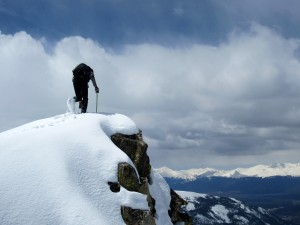 Me topping out on the gendarme on the north ridge proper