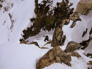 Me climbing back up the gendarme on our descent