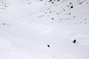 J skiing the north facing chute