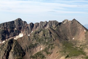 The Gore Grand Traverse from the northeast. Grand Traverse Peak on left and North Traverse Peak on right