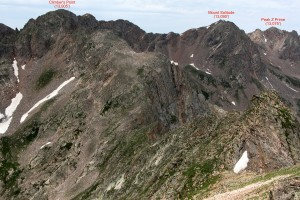 Connecting ridge from Point 12,860' to Climber's Point (13,005')
