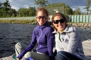 MK & Kristine on the dock watching Rob swim