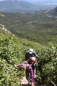 Dianne working the steep Saddle Trail