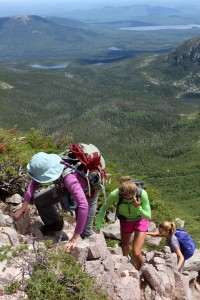 The gals finish off the scrambling to the saddle