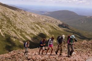 The crew heading up Katahdin's north ridge