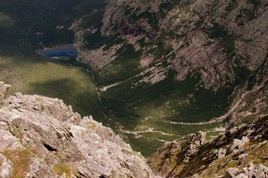 Looking down at Chimney Pond from the summit