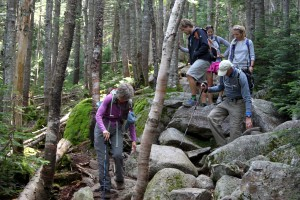 Coming down the Saddle Trail close to Chimney Pond