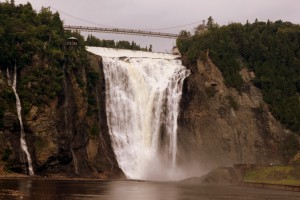 The 275 ft high Montmorency Falls outside Quebec City