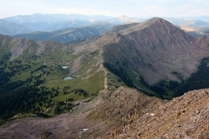 Looking down at Red Buffalo Pass & Demming Peak to the south from Red Peak's summit ridge