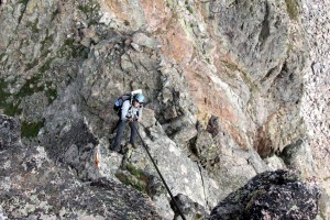 J rappelling off Taurus' north ridge