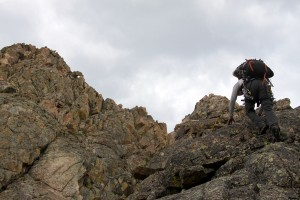 J scrambling up Libra's south ridge