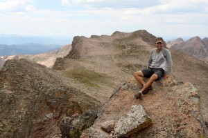 J on the summit of East Thorn (13,333') with Mt. Silverthorne behind