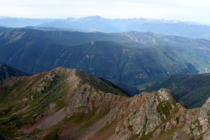 View south from the summit of Skier's point to Vail ski mountain and Mt. of the Holy Cross beyond