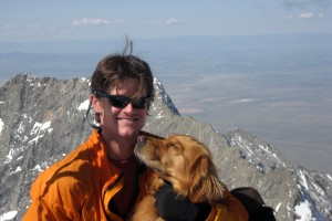 Rainier & I on the summit of Blanca Peak in May 2007 with the connecting ridge to Little Bear behind us