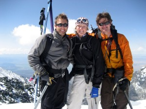 Our Denali team (J, Kristine, me) on the summit of Blanca Peak