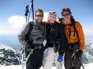 Our Denali team (J, Kristine, me) on the summit of Blanca Peak