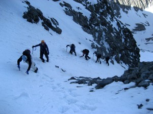 "Kristine leading the charge up the ""Hourglass Couloir"" on Little Bear Peak in May 2007"