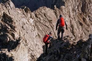 Mike & I heading down Little Bear's northeast ridge to start the traverse