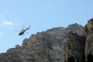 The chopper circling the Ledges campsites and the Grand behind