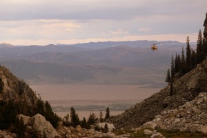 The SAR chopper preparing to land at the Meadows to drop SAR members off