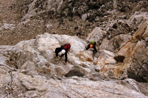 Billy & Reid starting the class 4 slabs  to the Upper Saddle I remember climbing last time in 2007