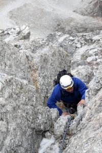 Bill climbing the Owen Chimney