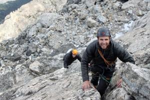 Mike & Reid scrambling up the upper mountain's fun slabs