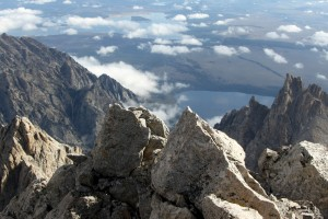 Looking down at Mt. Owen (far left) and Teewinot (far right) from the northern edge of the Grand's summit