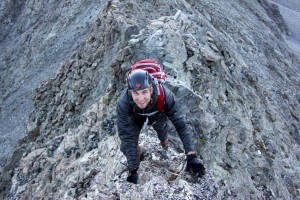 Mike on an exposed 4th class arete