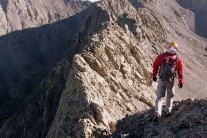 Derek heading down to another notch in the ridge