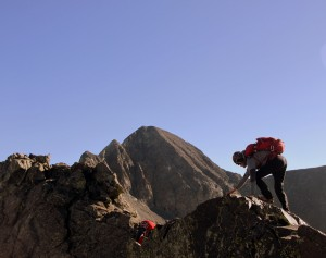 Me on a knife-edge of sorts with Blanca Peak in the distance