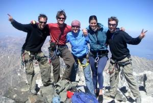 J, me, Kristine, Lizzie, & Jesse on the summit of  the Grand Teton on September 3, 2006