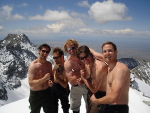 """The """"sun's out guns out"""" pose by the boys on Ellingwood Point"""