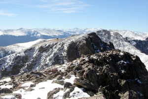 Notch Mountain's southern summit & the Notch Mountain Shelter from the northern true summit