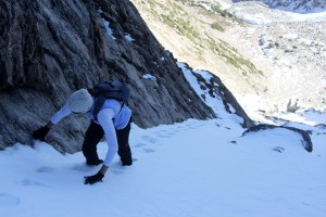 Snow filled couloir approaching the notch.