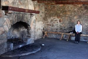 Great stone fireplace inside the hut.