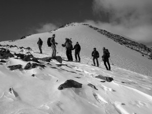 Our crew on the descent of the east ridge. Photo by Dillon Sarnelli