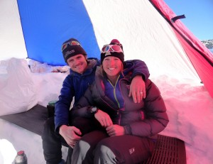 Kristine & I back in our little cook tent at High Camp after an 8 1/2 hour summit day