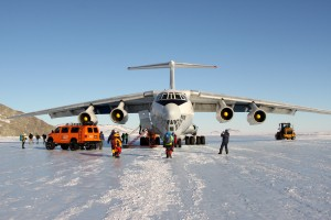 The Russian Ilyushin-76 after landing at Union Glacier. This plane is a beast and Kristine and I felt more comfortable in it than in any other plane we have ever been on (even with an all-Russian cabin and pilot crew)