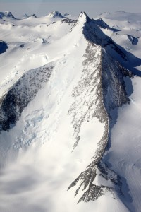An awesome looking peak and even more enticing snake-like ridge on one of the smaller peaks as seen on the flight to Vinson