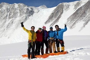 Some of our crew went sledding the day after we arrived back down at base camp. Left to right: Harry, Halla, Kristine, Andy, & Chase
