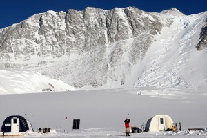 Vinson base camp and Mt. Vinson towering 9,000' above in the distance. The left tent was our ANI dining tent and the right tent is the food storage tent