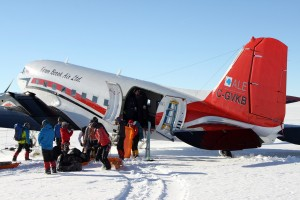 The old DC-3 picked us up on the Antarctic Plateau after the twin otters were not available to fly into Vinson base camp. This was a treat yet involved us hauling all of our gear for a few hours below base camp